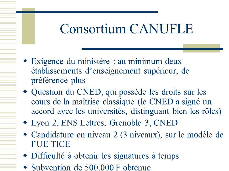 Consortium CANUFLE Exigence du ministère : au minimum deux établissements denseignement supérieur, de préférence plus Question du CNED, qui possède le