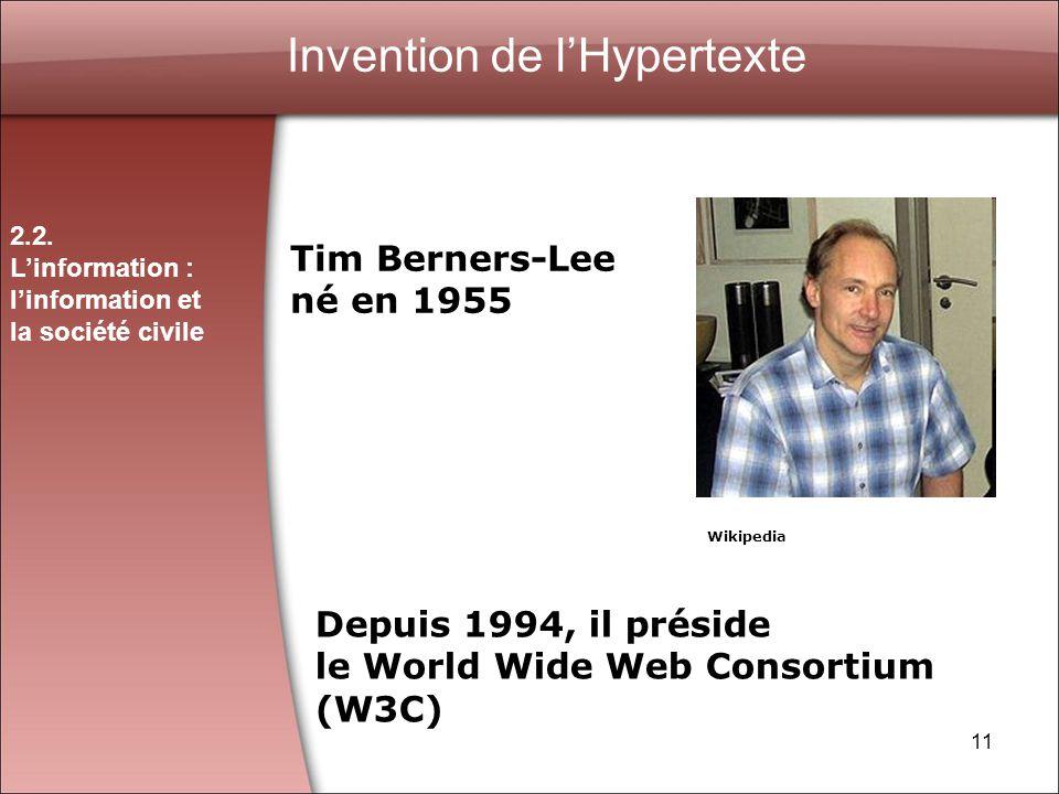 11 Invention de lHypertexte Tim Berners-Lee né en 1955 Depuis 1994, il préside le World Wide Web Consortium (W3C) 2.2.