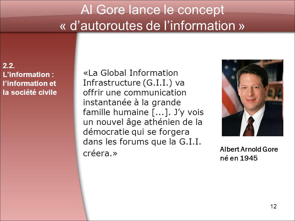 12 Al Gore lance le concept « dautoroutes de linformation » «La Global Information Infrastructure (G.I.I.) va offrir une communication instantanée à la grande famille humaine [...].