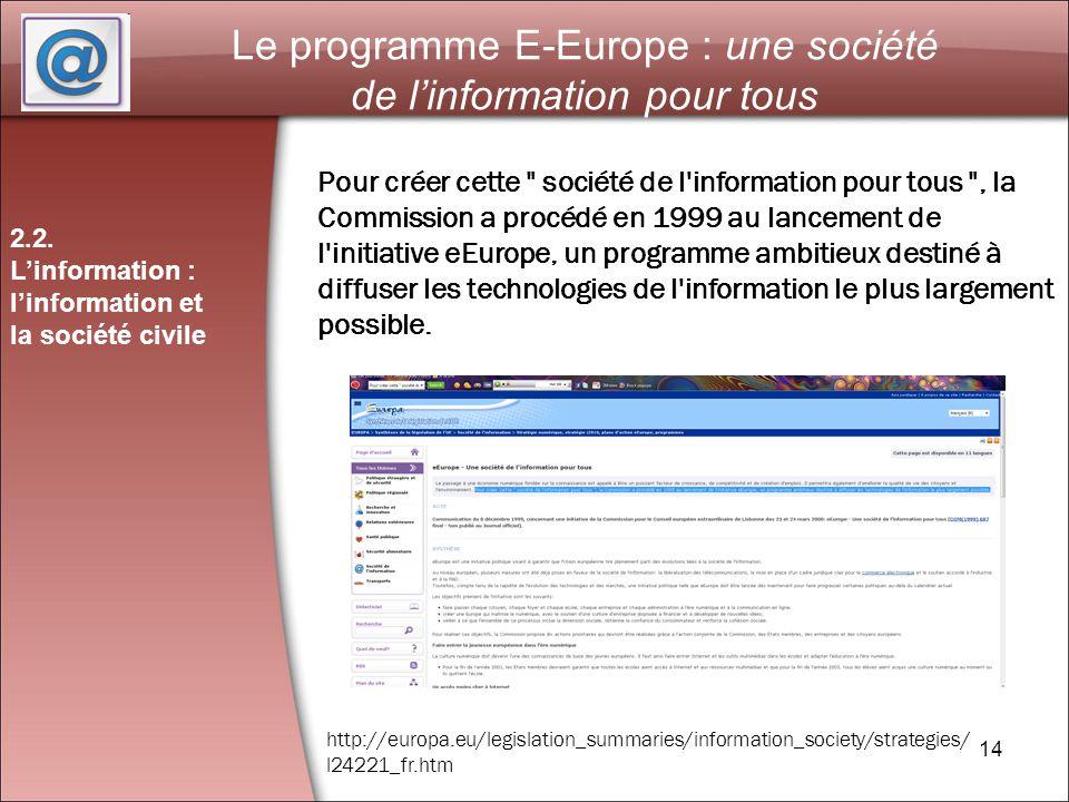 14 Le programme E-Europe : une société de linformation pour tous 2.2.
