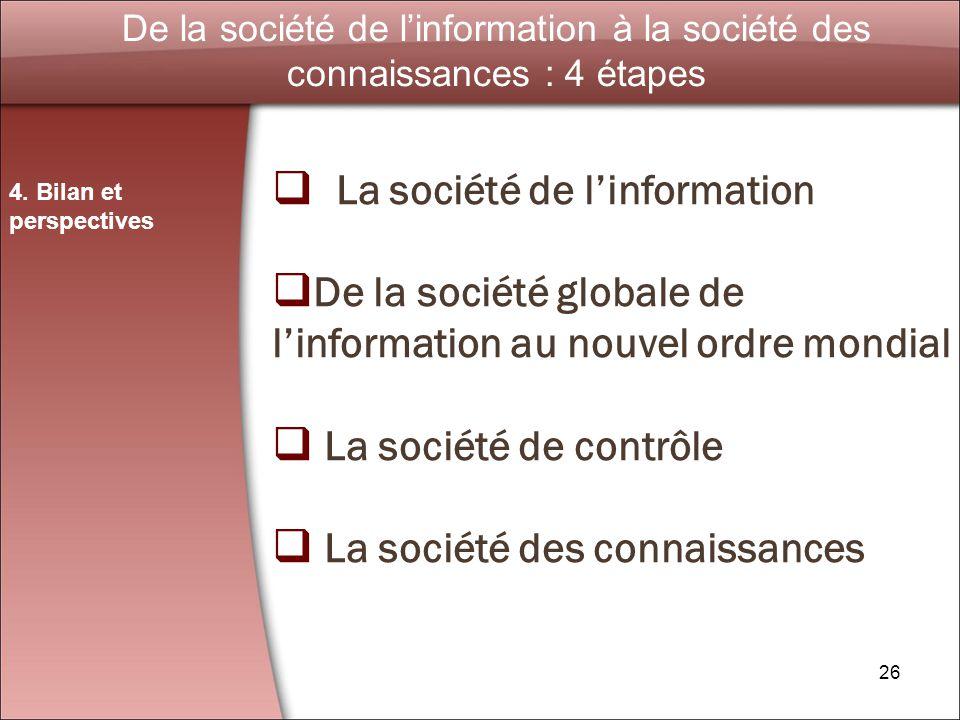 26 De la société de linformation à la société des connaissances : 4 étapes 4.