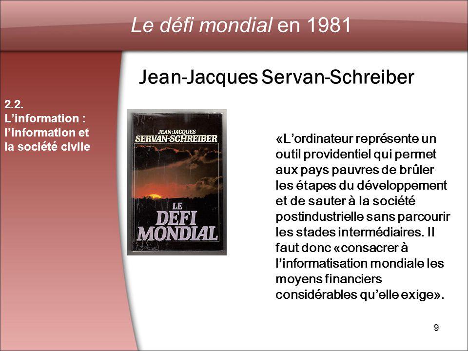 9 Le défi mondial en 1981 2.2.
