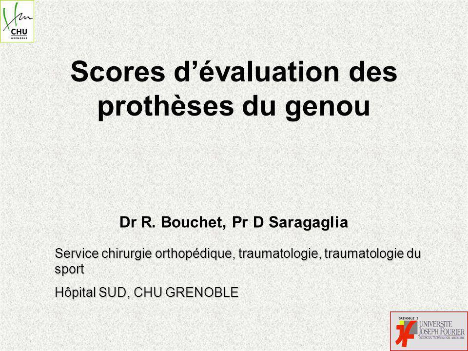 Scores dévaluation des prothèses du genou Dr R.