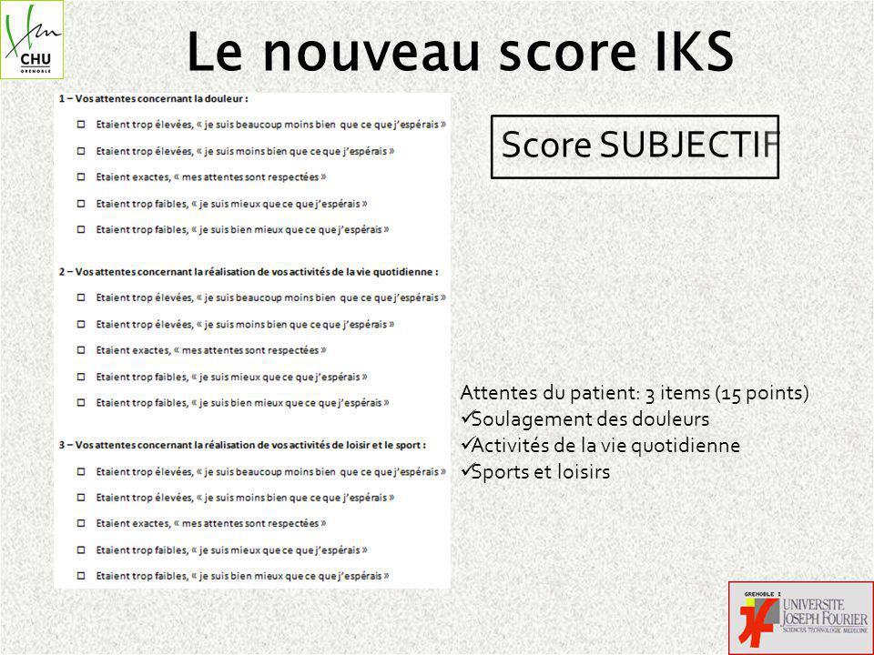 Le nouveau score IKS Score SUBJECTIF Attentes du patient: 3 items (15 points) Soulagement des douleurs Activités de la vie quotidienne Sports et loisirs