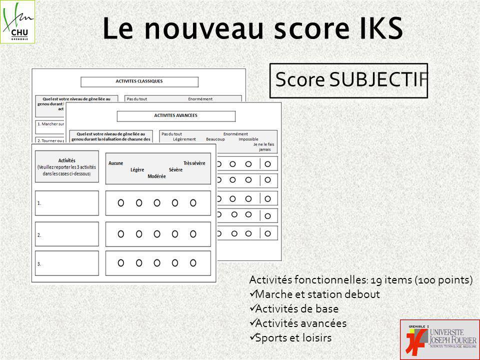 Le nouveau score IKS Score SUBJECTIF Activités fonctionnelles: 19 items (100 points) Marche et station debout Activités de base Activités avancées Sports et loisirs