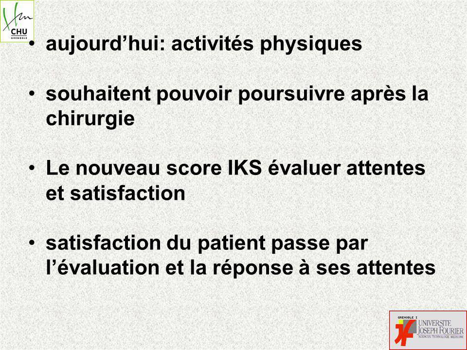 aujourdhui: activités physiques souhaitent pouvoir poursuivre après la chirurgie Le nouveau score IKS évaluer attentes et satisfaction satisfaction du patient passe par lévaluation et la réponse à ses attentes