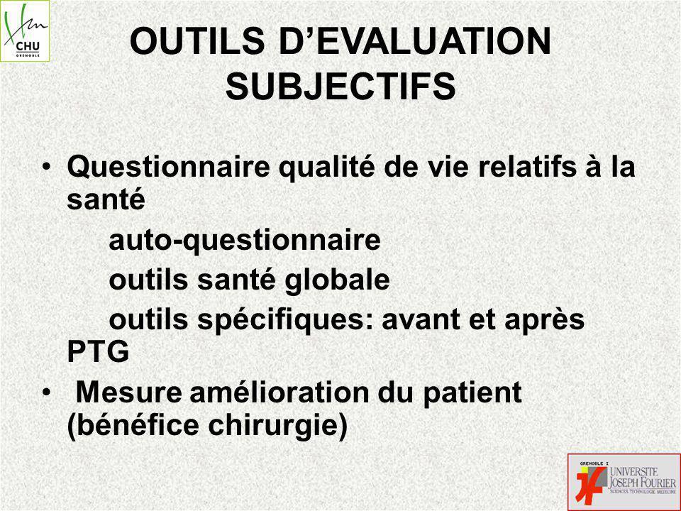 OUTILS DEVALUATION SUBJECTIFS Questionnaire qualité de vie relatifs à la santé auto-questionnaire outils santé globale outils spécifiques: avant et après PTG Mesure amélioration du patient (bénéfice chirurgie)