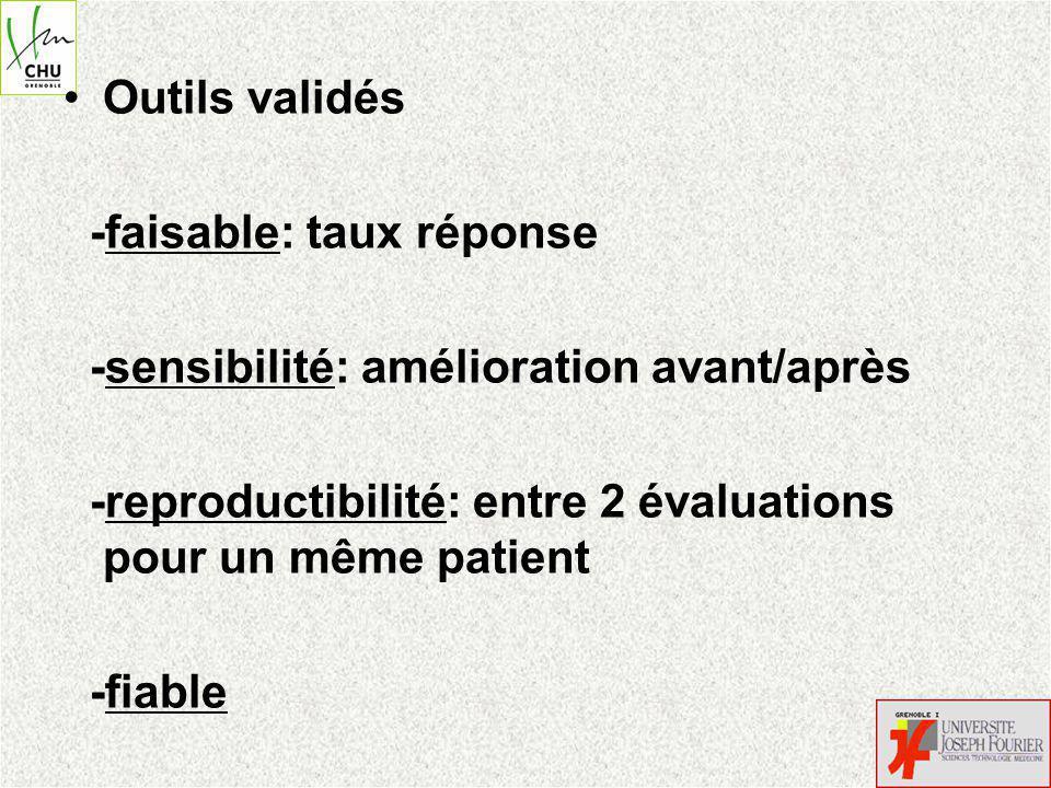 Outils validés -faisable: taux réponse -sensibilité: amélioration avant/après -reproductibilité: entre 2 évaluations pour un même patient -fiable