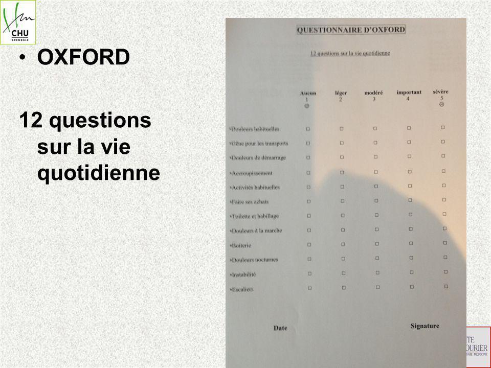 KOOS (Knee injury and Osteoarthritis Outcome Score ) 5 catégories, questionnaire de 42 questions Chaque question est à choix multiples avec 5 possibilités évaluation sur 100 points selon 5 grands axes qui sont: symptômes; douleur; fonction, vie quotidienne; activités, sport et loisirs, qualité de vie