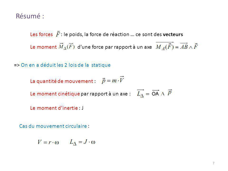 7 Résumé : Les forces : le poids, la force de réaction … ce sont des vecteurs Le moment dune force par rapport à un axe => On en a déduit les 2 lois d