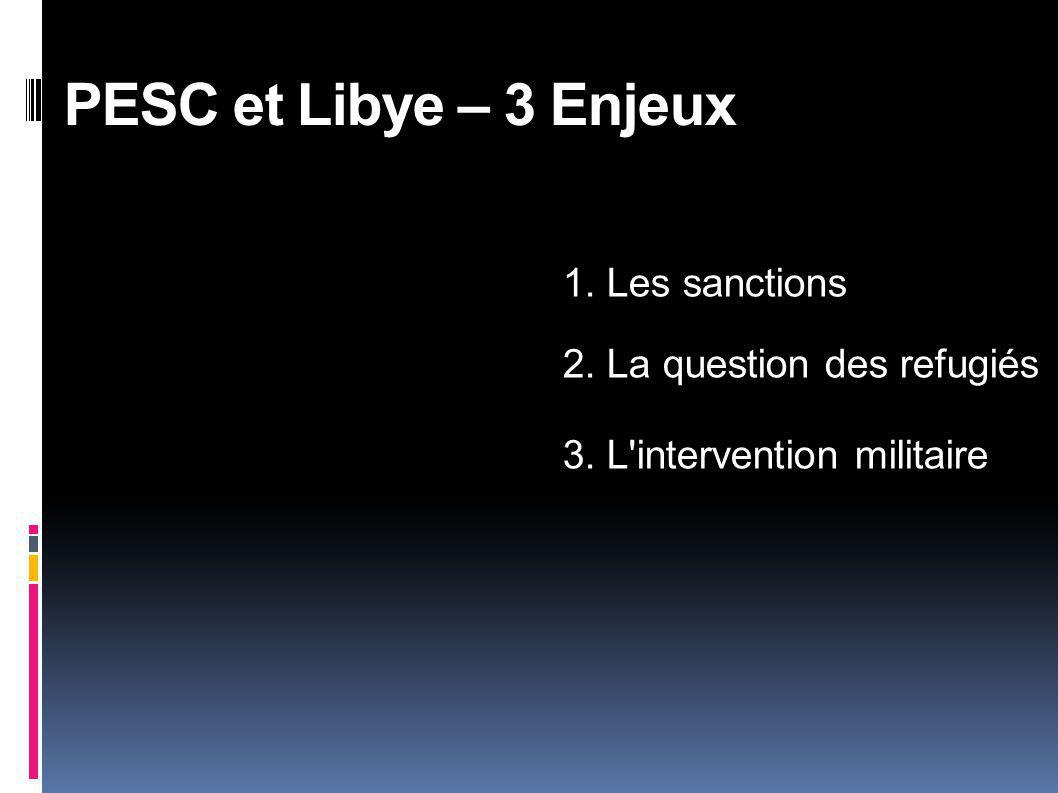 PESC et Libye – 3 Enjeux 1. Les sanctions 2. La question des refugiés 3. L'intervention militaire