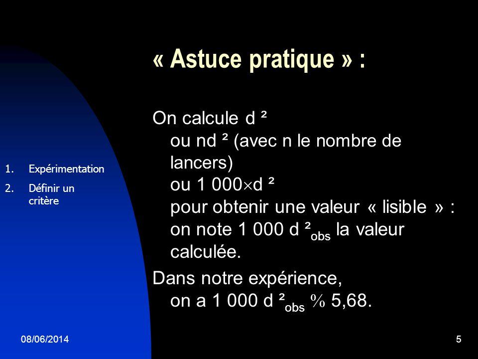 08/06/20145 « Astuce pratique » : On calcule d ² ou nd ² (avec n le nombre de lancers) ou 1 000 d ² pour obtenir une valeur « lisible » : on note 1 000 d ² obs la valeur calculée.