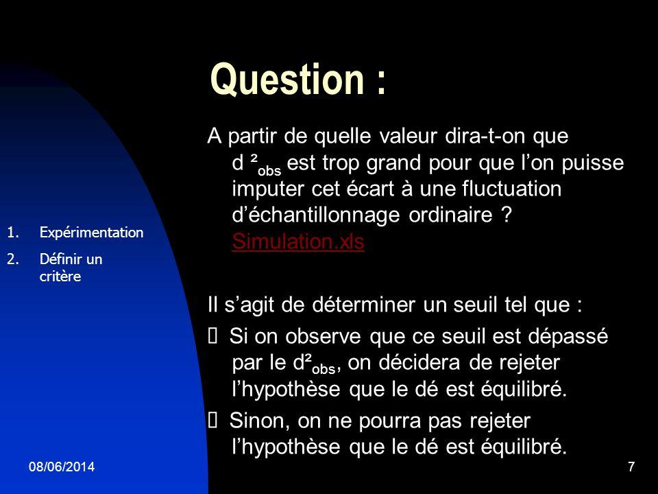 08/06/20147 Question : A partir de quelle valeur dira-t-on que d ² obs est trop grand pour que lon puisse imputer cet écart à une fluctuation déchantillonnage ordinaire .