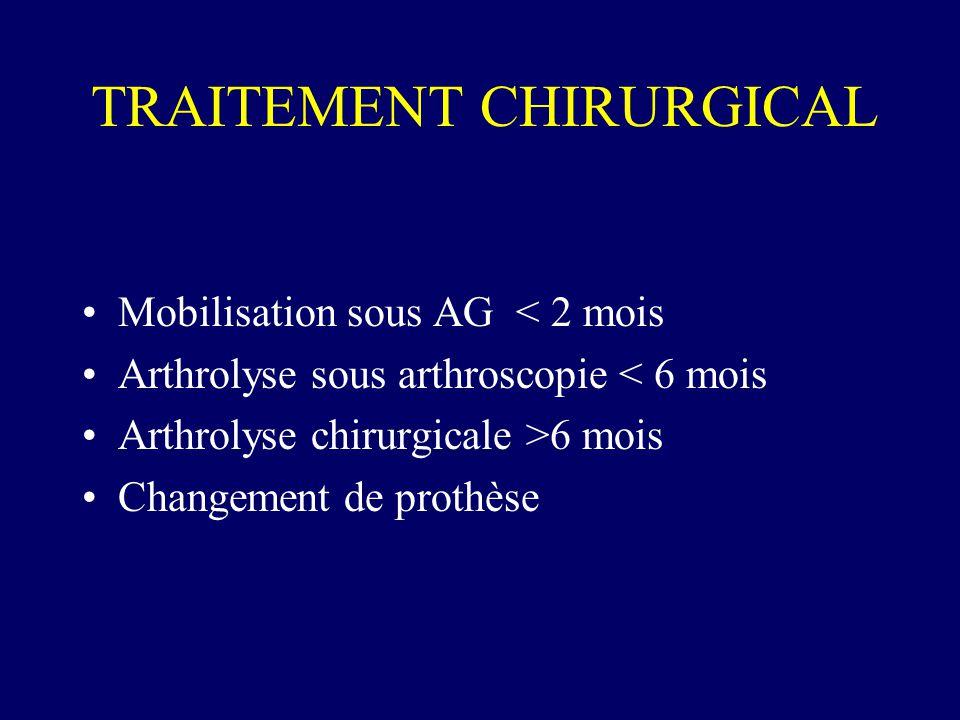TRAITEMENT CHIRURGICAL Mobilisation sous AG < 2 mois Arthrolyse sous arthroscopie < 6 mois Arthrolyse chirurgicale >6 mois Changement de prothèse