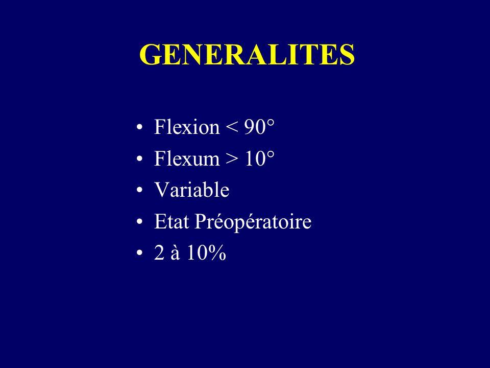 GENERALITES Flexion < 90° Flexum > 10° Variable Etat Préopératoire 2 à 10%