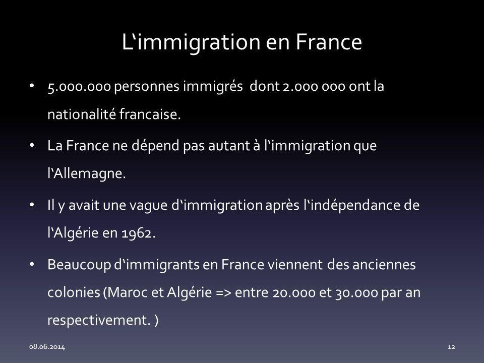 Limmigration en France 5.000.000 personnes immigrés dont 2.000 000 ont la nationalité francaise.