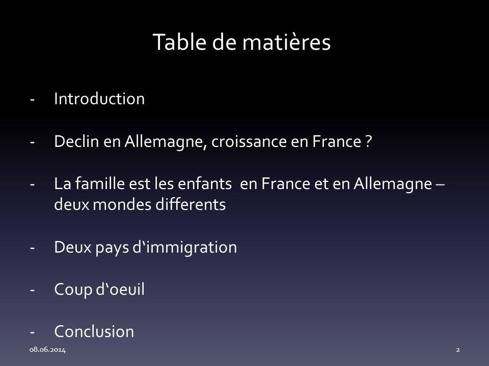 Table de matières 08.06.20142 -Introduction -Declin en Allemagne, croissance en France .