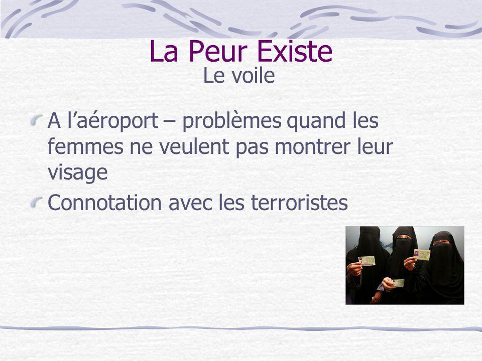 A laéroport – problèmes quand les femmes ne veulent pas montrer leur visage Connotation avec les terroristes La Peur Existe Le voile