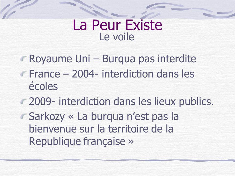 Royaume Uni – Burqua pas interdite France – 2004- interdiction dans les écoles 2009- interdiction dans les lieux publics. Sarkozy « La burqua nest pas