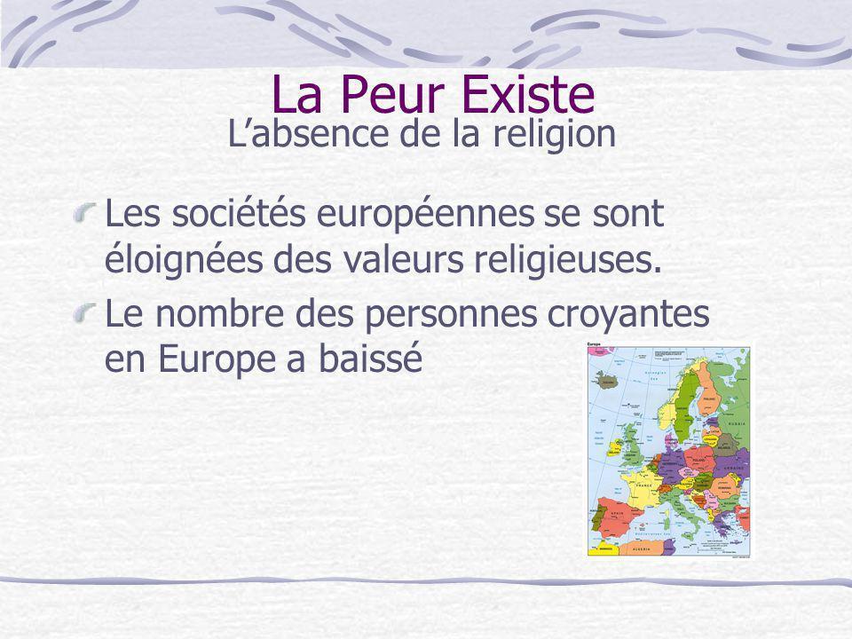 La Peur Existe Les sociétés européennes se sont éloignées des valeurs religieuses. Le nombre des personnes croyantes en Europe a baissé Labsence de la