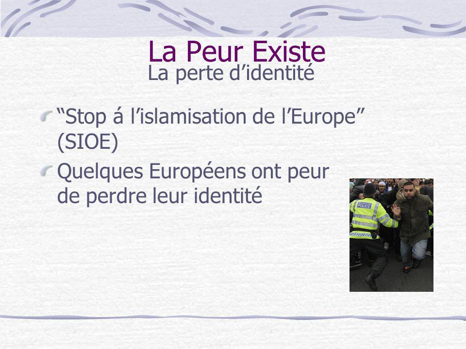 La Peur Existe La perte didentité Stop á lislamisation de lEurope (SIOE) Quelques Européens ont peur de perdre leur identité