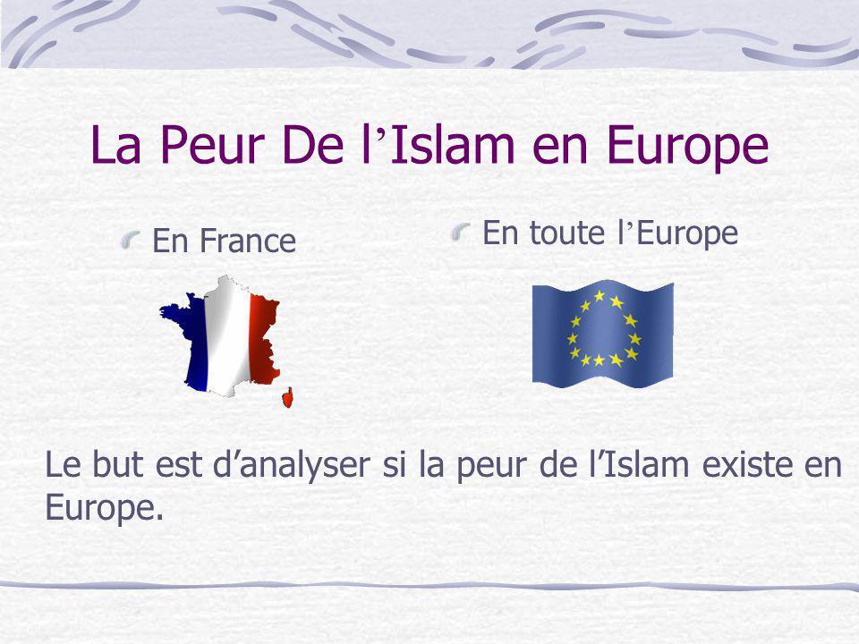 La Peur De l Islam en Europe En France En toute l Europe Le but est danalyser si la peur de lIslam existe en Europe.