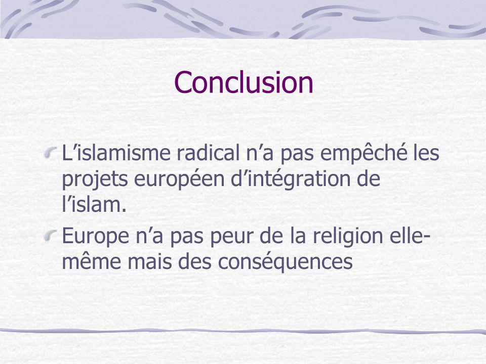 Conclusion Lislamisme radical na pas empêché les projets européen dintégration de lislam. Europe na pas peur de la religion elle- même mais des conséq