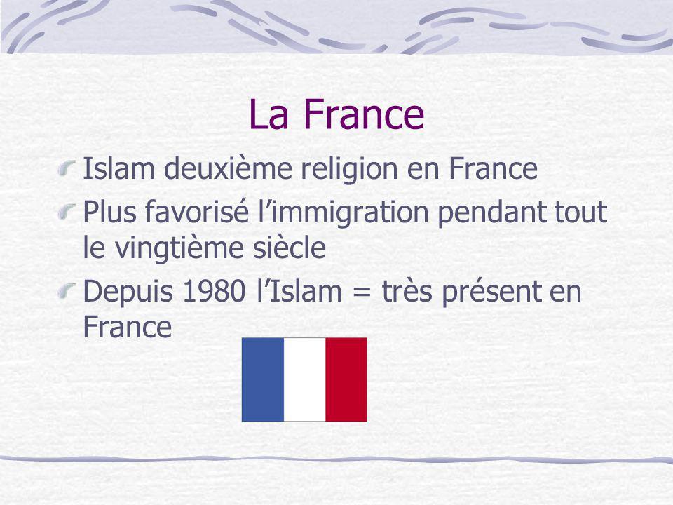 La France Islam deuxième religion en France Plus favorisé limmigration pendant tout le vingtième siècle Depuis 1980 lIslam = très présent en France