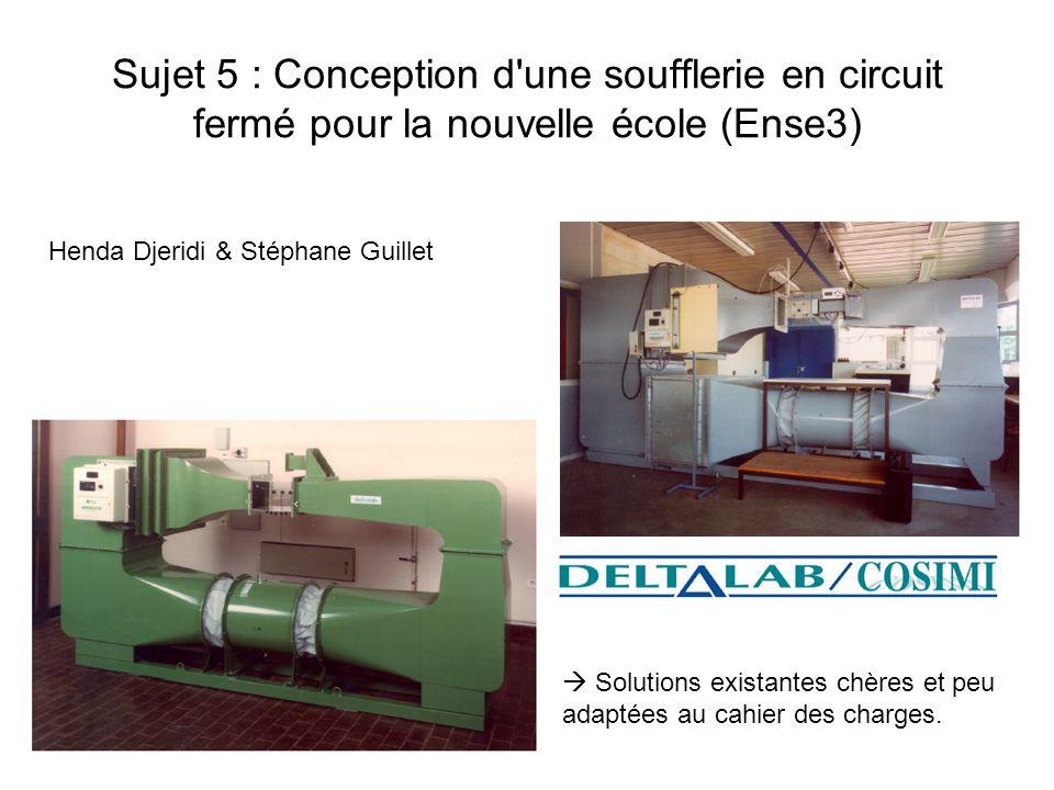 Sujet 5 : Conception d'une soufflerie en circuit fermé pour la nouvelle école (Ense3) Henda Djeridi & Stéphane Guillet Solutions existantes chères et