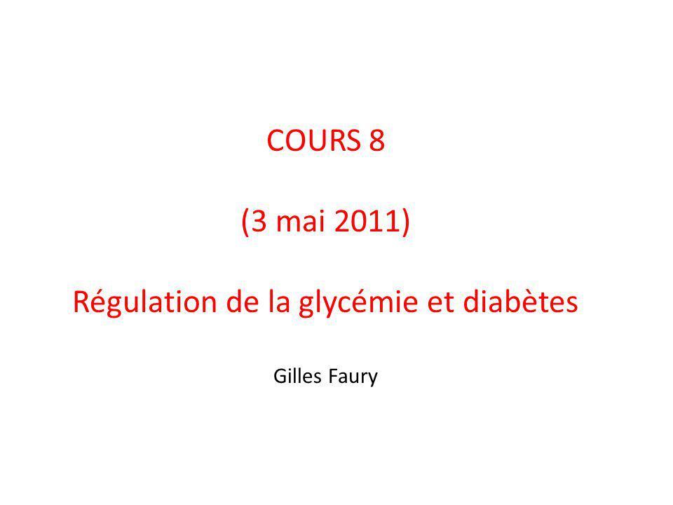 COURS 8 (3 mai 2011) Régulation de la glycémie et diabètes Gilles Faury