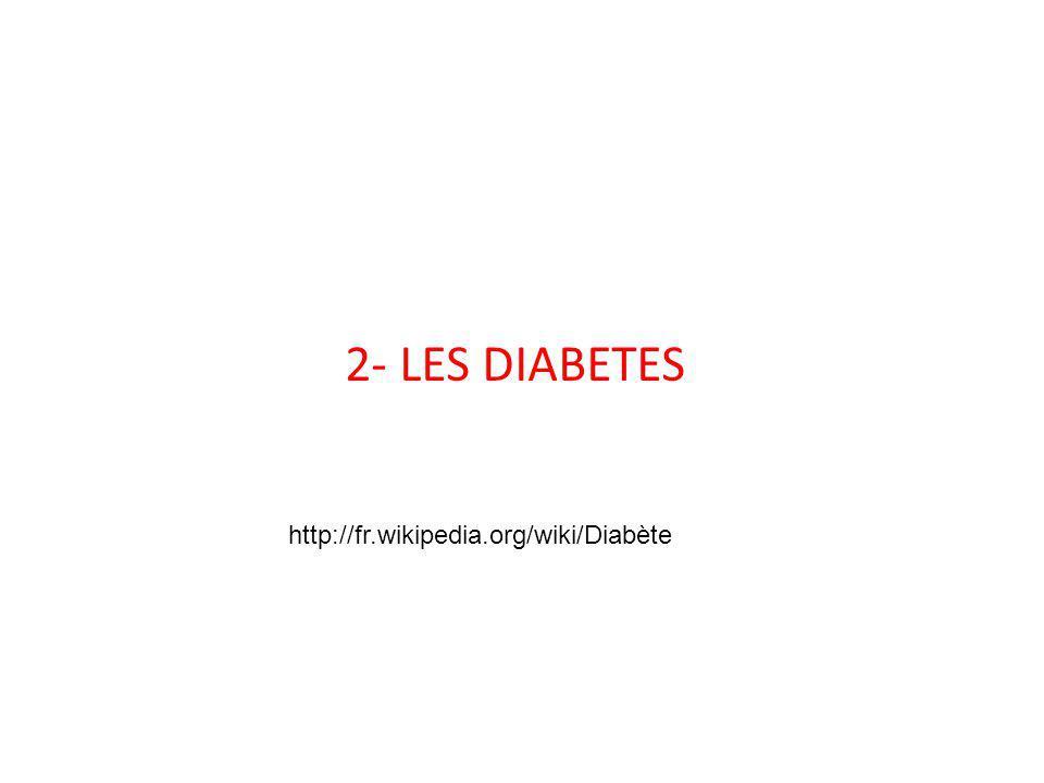 2- LES DIABETES http://fr.wikipedia.org/wiki/Diabète