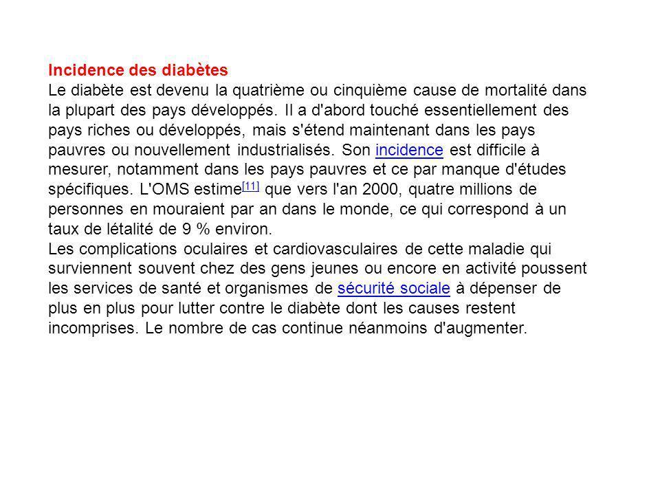 Incidence des diabètes Le diabète est devenu la quatrième ou cinquième cause de mortalité dans la plupart des pays développés.