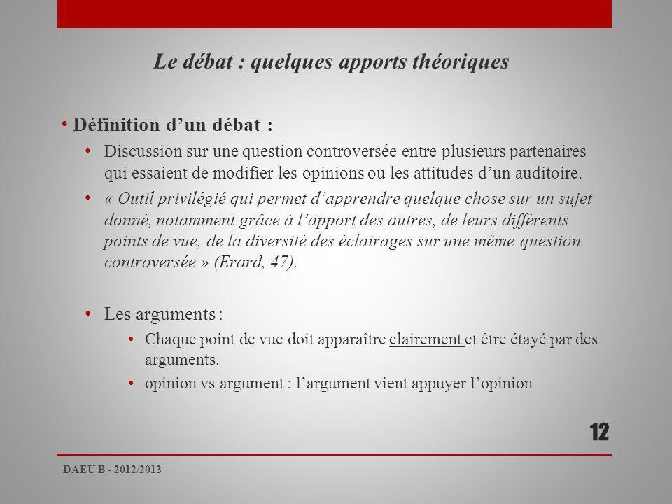 Le débat : quelques apports théoriques Définition dun débat : Discussion sur une question controversée entre plusieurs partenaires qui essaient de modifier les opinions ou les attitudes dun auditoire.