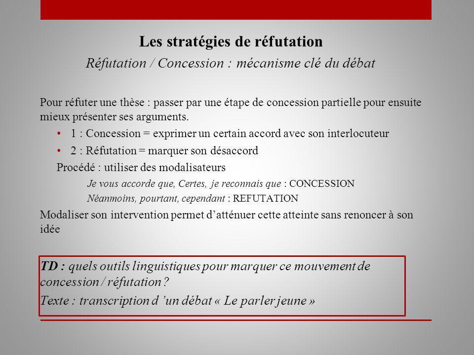Les stratégies de réfutation Réfutation / Concession : mécanisme clé du débat Pour réfuter une thèse : passer par une étape de concession partielle pour ensuite mieux présenter ses arguments.