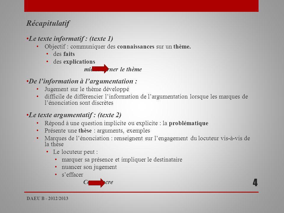 Récapitulatif Le texte informatif : (texte 1) Objectif : communiquer des connaissances sur un thème.