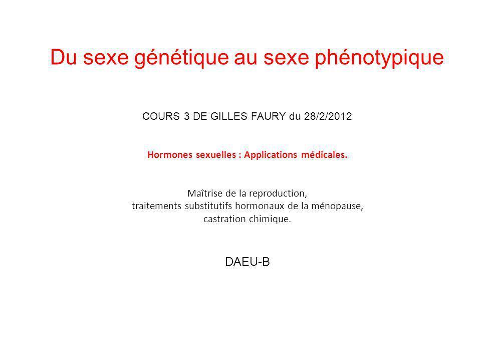 Du sexe génétique au sexe phénotypique COURS 3 DE GILLES FAURY du 28/2/2012 Hormones sexuelles : Applications médicales. Maîtrise de la reproduction,