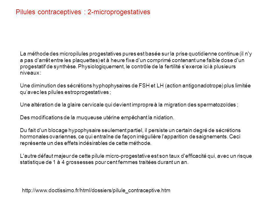 http://www.doctissimo.fr/html/dossiers/pilule_contraceptive.htm La méthode des micropilules progestatives pures est basée sur la prise quotidienne con