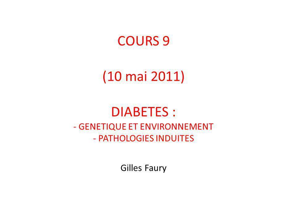 COURS 9 (10 mai 2011) DIABETES : - GENETIQUE ET ENVIRONNEMENT - PATHOLOGIES INDUITES Gilles Faury