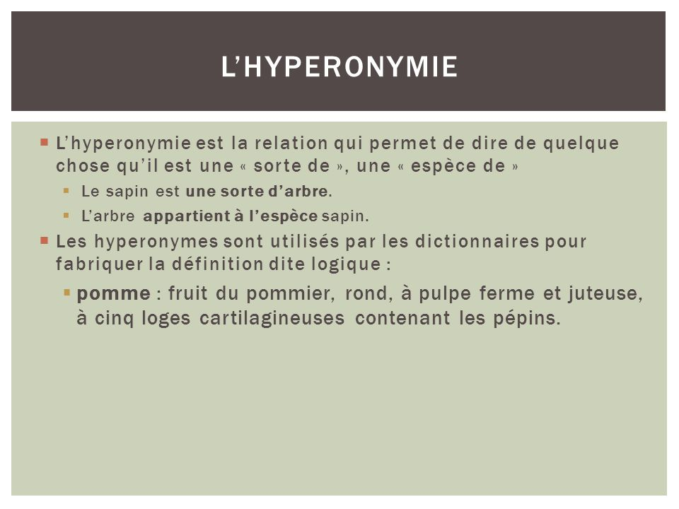 Lhyperonymie est la relation qui permet de dire de quelque chose quil est une « sorte de », une « espèce de » Le sapin est une sorte darbre. Larbre ap