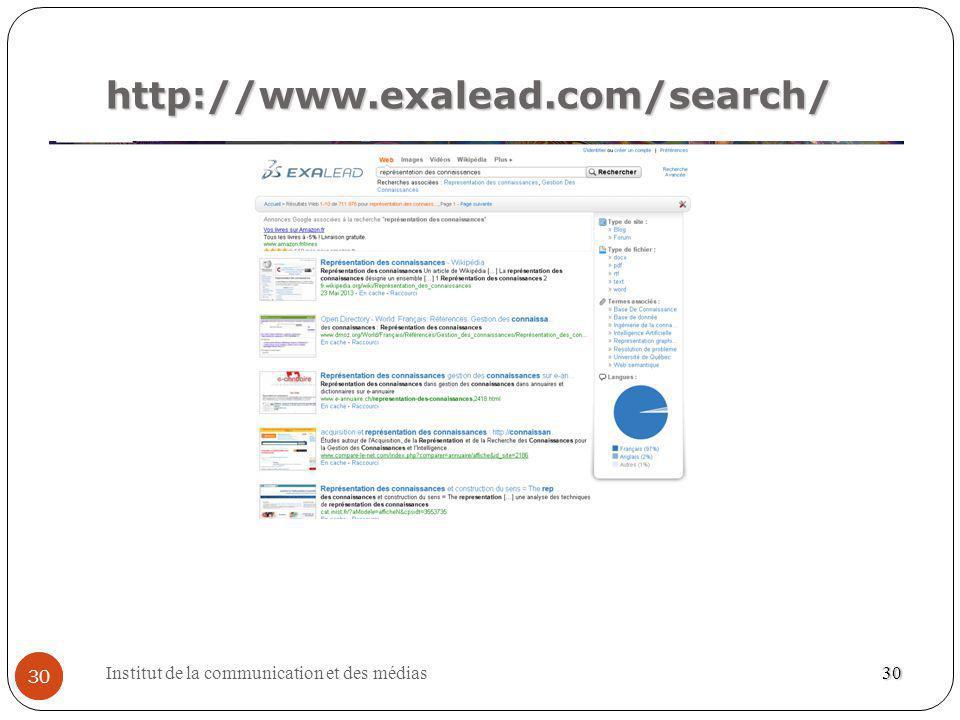 Institut de la communication et des médias 30 http://www.exalead.com/search/ 30
