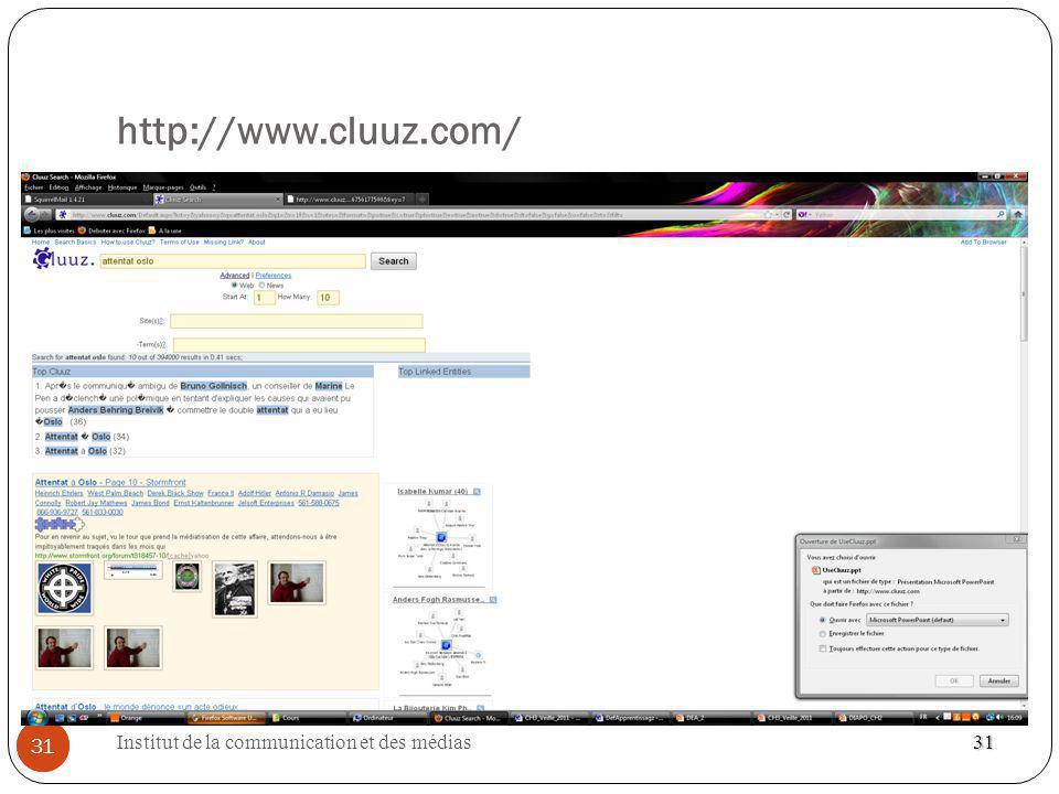 Institut de la communication et des médias 31 http://www.cluuz.com/ 31 31