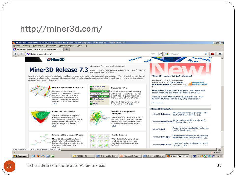 Institut de la communication et des médias 37 http://miner3d.com/ 37 37