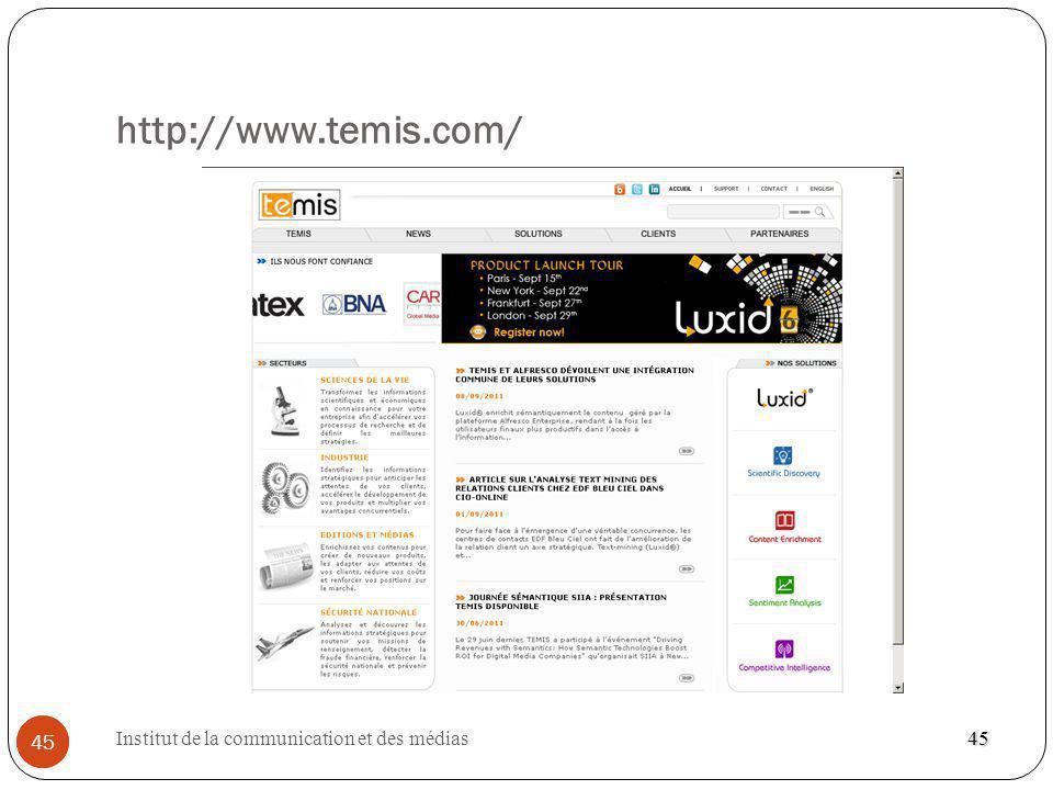 Institut de la communication et des médias 45 http://www.temis.com/ 45 45