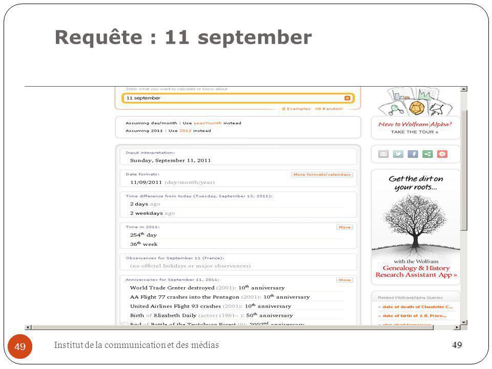 Institut de la communication et des médias 49 Requête : 11 september 49 49