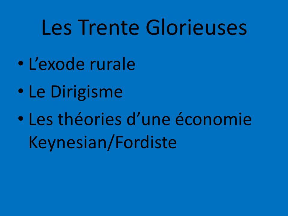 Les Trente Glorieuses Lexode rurale Le Dirigisme Les théories dune économie Keynesian/Fordiste