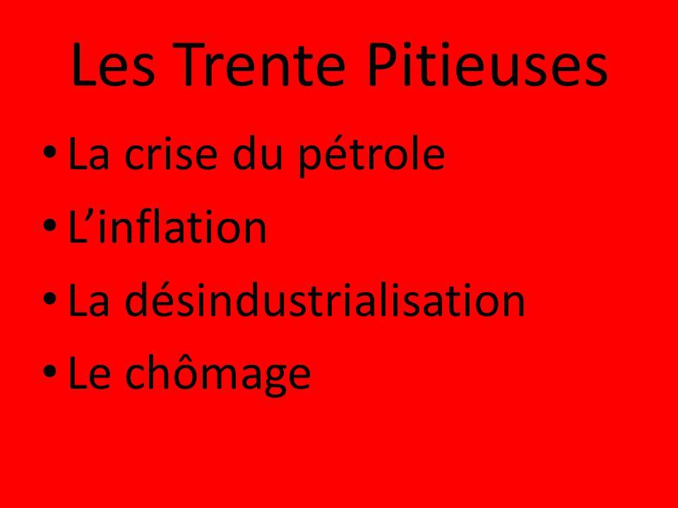 Les Trente Pitieuses La crise du pétrole Linflation La désindustrialisation Le chômage