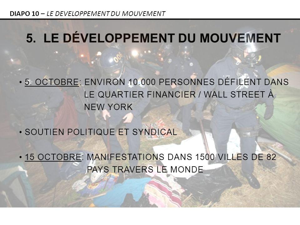 5. LE DÉVELOPPEMENT DU MOUVEMENT DIAPO 10 – LE DEVELOPPEMENT DU MOUVEMENT 5.