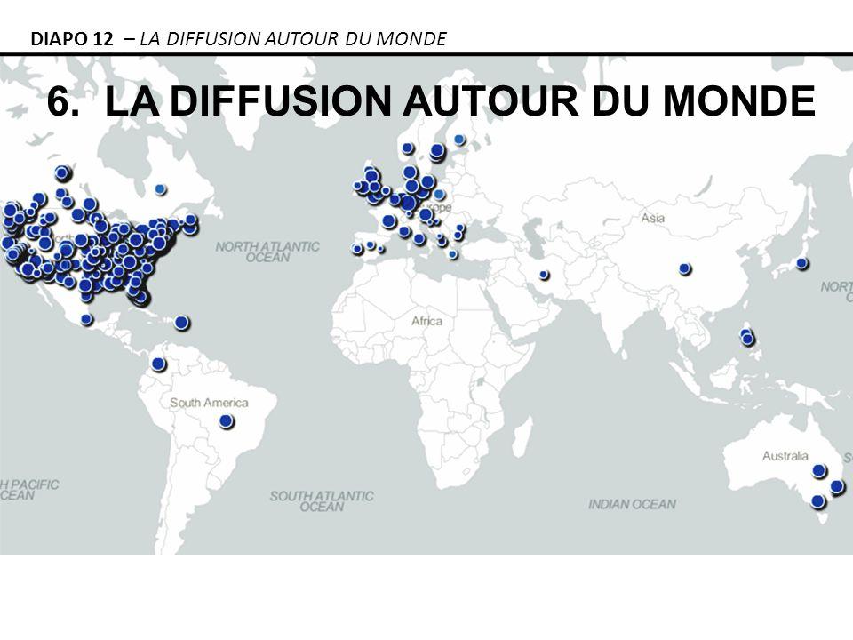 6. LA DIFFUSION AUTOUR DU MONDE DIAPO 12 – LA DIFFUSION AUTOUR DU MONDE