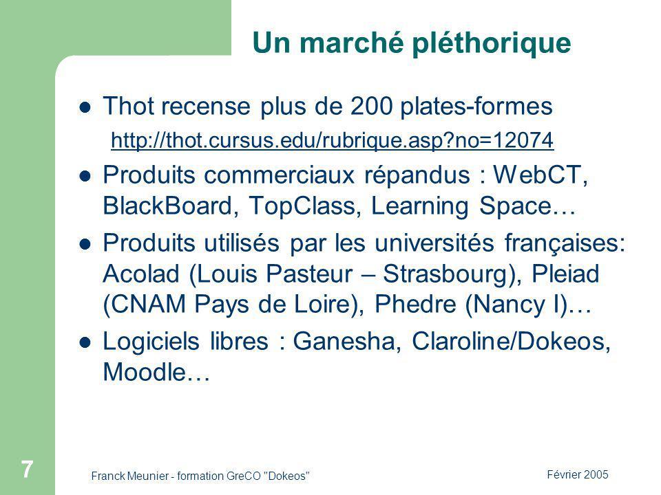 Février 2005 Franck Meunier - formation GreCO Dokeos 7 Un marché pléthorique Thot recense plus de 200 plates-formes http://thot.cursus.edu/rubrique.asp?no=12074 Produits commerciaux répandus : WebCT, BlackBoard, TopClass, Learning Space… Produits utilisés par les universités françaises: Acolad (Louis Pasteur – Strasbourg), Pleiad (CNAM Pays de Loire), Phedre (Nancy I)… Logiciels libres : Ganesha, Claroline/Dokeos, Moodle…