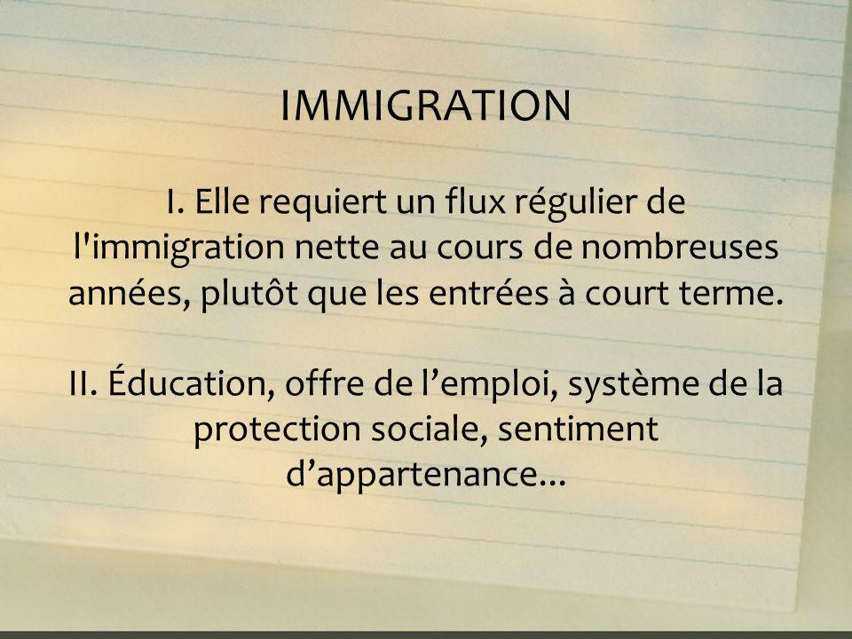 IMMIGRATION I. Elle requiert un flux régulier de l'immigration nette au cours de nombreuses années, plutôt que les entrées à court terme. II. Éducatio